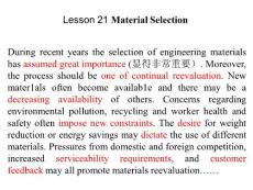 Lesson 21 Material Selection 机械专业专业英语教学用书