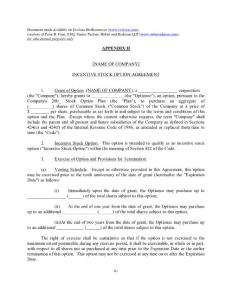 Incentive Stock Option Agreement - Evelexa BioResources股票期权激励契约evelexa生物资源