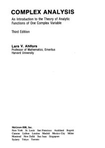Complex analysis(Ahlfors).
