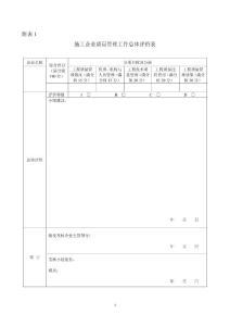 施工企业质量管理工作总体评价表