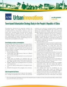 Town-based Urbanization Strategy Study in PRC