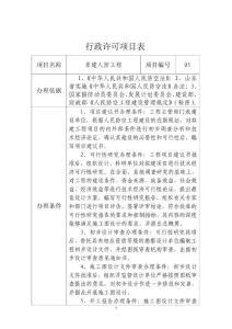 行政许可项目表