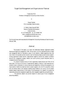 外文文献:目标成本管理与组织理论