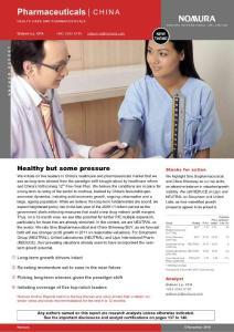 野村证券 2010-2011年中国医药药物行业深度研究报告