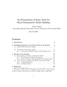 An examination of some tools for macro econometric model building