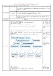 九年级英语下册 Unit 9 Lesson 50 Tips for Good Communication教学设计 (新版)冀教版