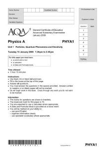 2009年全球A-LEVLE认证考试AQA物理第一单元试卷