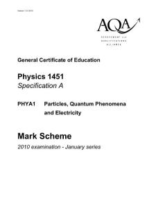 2010年全球A-LEVLE认证考试AQA物理第一单元答案2