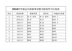 2016年中级会计职称考试预习阶段学习计划表