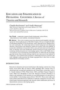 Education and Stratification in Developing Countries: A Review of Theories and Research Z