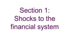 Section 1 Shocks to the..