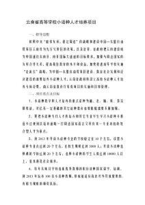 云南省高级黉舍小语种人才造就项目[指南]