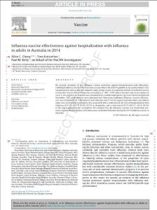 Influenza vaccine effectiveness against hospitalisation with influenza in adults in Australia in 2014