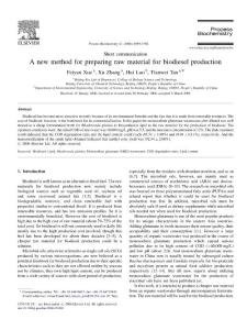 A new method for preparing raw material for biodiesel production