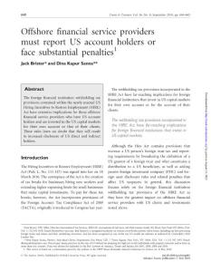Offshore financial service providers must report US account...