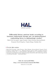 Differential dietary nutrient intake according to hormone…