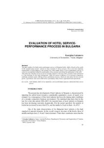 EVALUATION OF HOTEL SERVICE- PERFORMANCE PROCESS IN BULGARIA…
