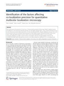 Identificationofthefactorsaffectingco-localizationprecisionforquantitativemulticolorlocalizationmicroscopy