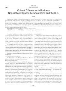 Cultural Differences in Business Negotiation Etiquette between China and the U.S.