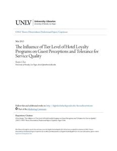 The Influence of Tier Level of Hotel Loyalty Programs on Guest...