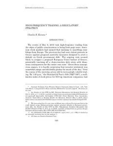 High-Frequency Trading A Regulatory Strategy