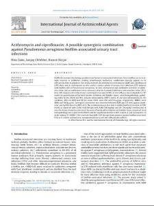 Azithromycin and ciprofloxacin A possible synergistic combination against Pseudomonas aeruginosa biofilm-associated urinary tract infections