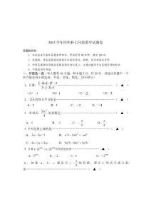 七年级上数学竞赛试卷