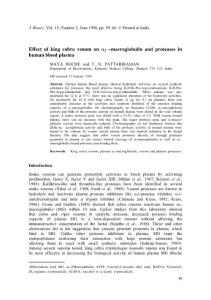 Effect of king cobra venom on α2-macroglobulin and proteases in human blood plasma