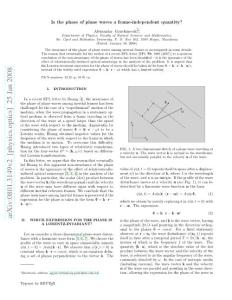 is the phase of plane waves a frame-independent quantity