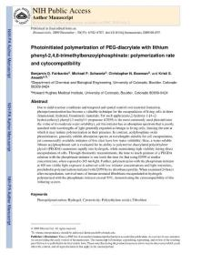 Photoinitiated polymerization of PEG-diacrylate with lithium phenyl-2 4 6-trimethylbenzoylphosphinate polymerization rate and cytocompatibility