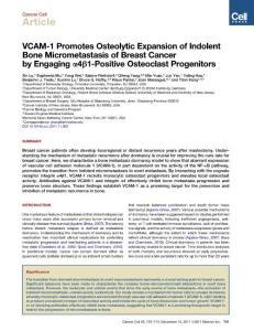 (肿瘤生物学资料)2011[cancer cell]vcam-1 promotes osteolytic expansion of indolent bone micrometastasis of breast cancer by engaging α4β1-positive osteoclast progenitors
