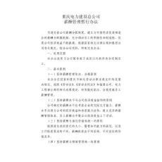 重庆电力建设总公司薪酬管理暂行办法