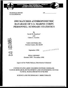 1995 matched anthropometric database of u.s. marine corps personnel summary statistics.(9.48mb)