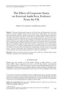 the effect of corporate status on external audit fees evidence from the uk