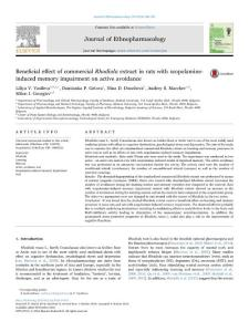 Beneficial effect of commercial Rhodiola extract in rats with scopolamine-induced memory impairment on active avoidanceJournal of ethnopharmacology[