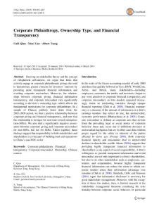 corporate philanthropy  ownership type  and financial transparency