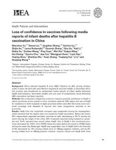 loss of confidence in vaccines following media reports of infant deaths after hepatitis b vaccination in china.[2016][in.疫苗中丧失信心后媒体报道在中国乙肝疫苗接种后的婴儿死亡。[2