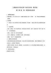 人教版高中历史必修一知识点总结(最全版)