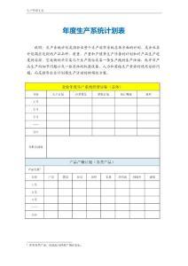 年度生产系统计划表