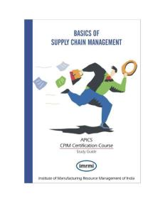 Basics of Supply Chain Management APICS CPIM Certification Course Study Guide