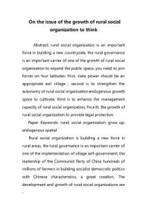 On the issue of the growth of rural social organization to think(农村社会组织的发展问题上思考)