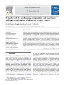 Evaluation of the production composition and aluminum and iron complexation of algogenic organicmatter