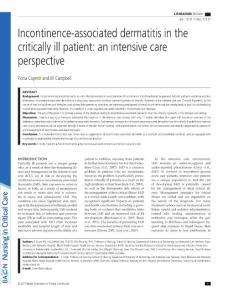 incontinence-associated dermatitis in the critically ill patient an intensive care perspective.[2017][nurs crit care][10.1111nicc.12331]