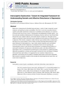interoceptive dysfunction toward an integrated framework for understanding somatic and affective disturbance in depression(感觉障碍的整合框架理解躯体和情感障碍的综合框架)