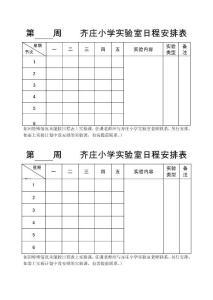 齐庄小学实验室日程安排表