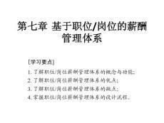 第7章基于职位岗位薪酬管理管理体系