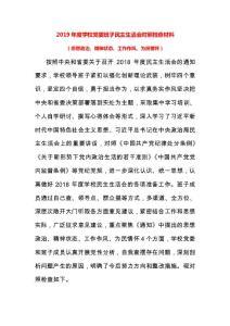 2019年度学校党委班子民 主生活会对照检查材料..