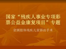 """國家""""殘疾人事業專項彩票公益金康復項目""""專題ppt課件"""