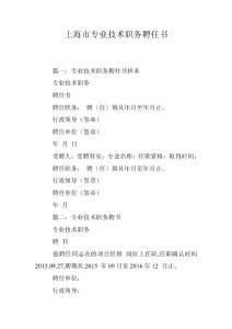 上海市专业技术职务聘任书
