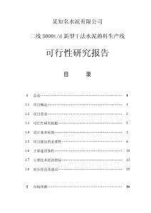 某知名水泥有限公司二線5000TD新型干法水泥熟料生產線可行性研究報告